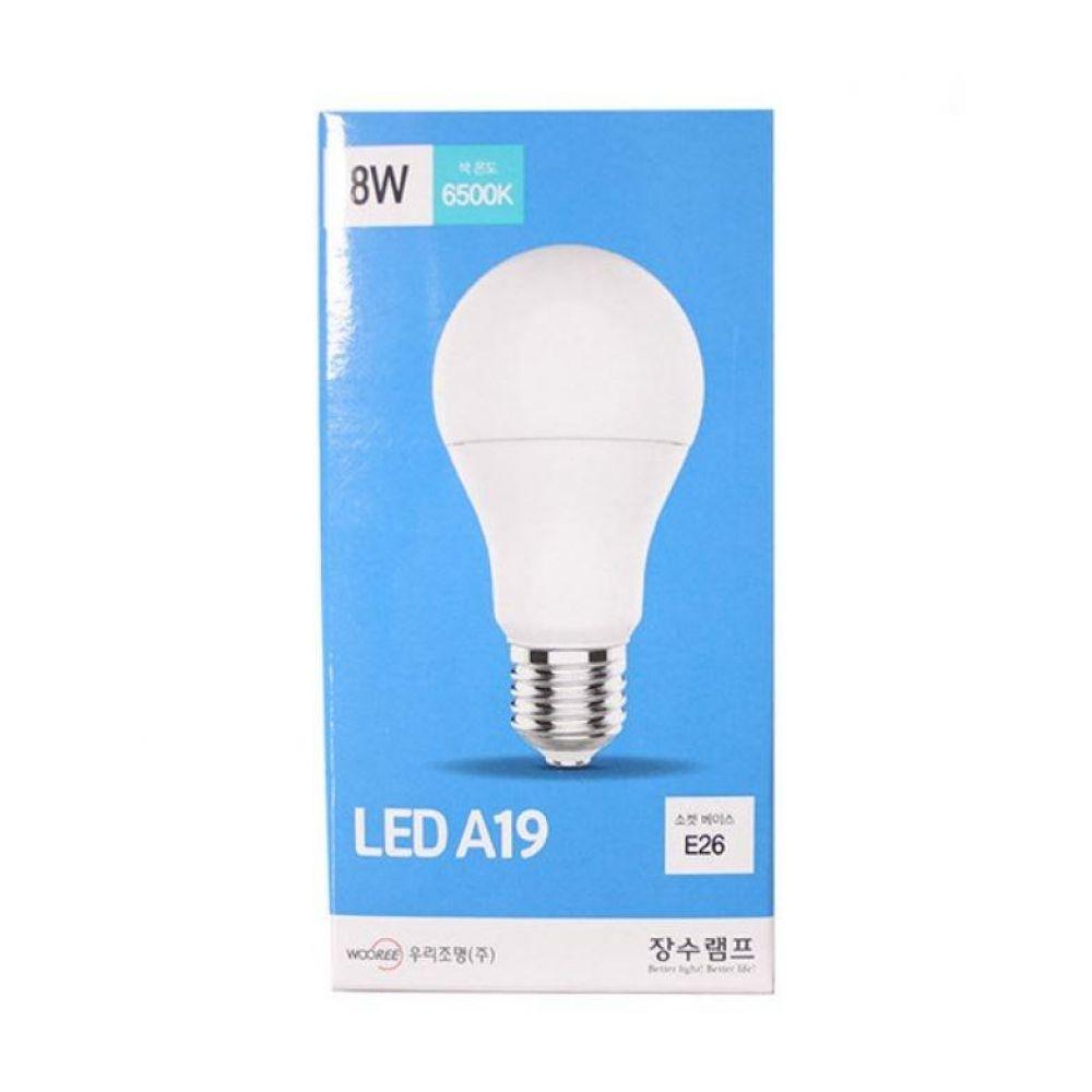 장수램프 LED A19 E26 전구 8W(주광색)6500K 형광등색 삼파장 조명 엘이디 볼