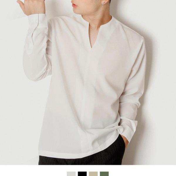 무지 절개 브이넥 루즈핏 긴팔셔츠 절개셔츠 오버핏셔츠 노카라셔츠 브이넥셔츠 루즈핏셔츠 무지셔츠 긴팔셔츠 캐주얼셔츠 킹스맨