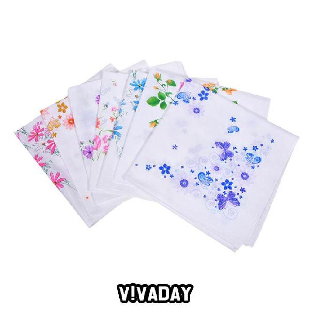 VIVADAY-SC89 꽃프린팅 이중가제 손수건 손수건 나염손수건 여성손수건 신사손수건 남성손수건 순면손수건 가제손수건 고급손수건