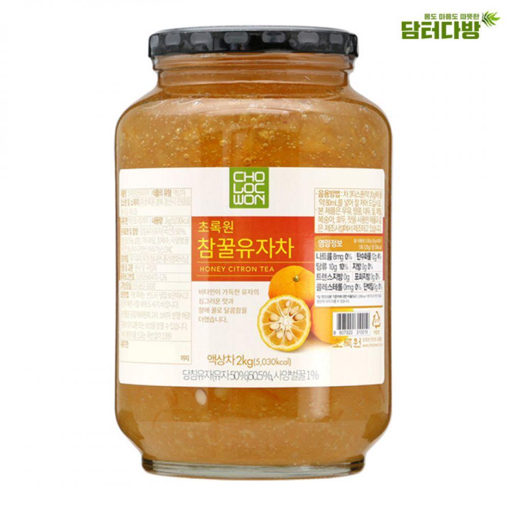 초록원 꿀유자차 2kg 초록원 맛있는차 누구나좋아하는 건강한차 따뜻한차 유자차 집에서즐기는 대용량 선물용으로좋은