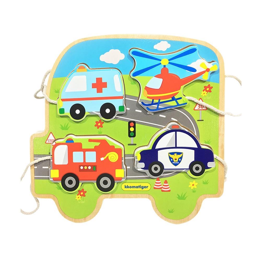 선물 유아 장난감 티거 원목 끈퍼즐 놀이 탈것 생일 퍼즐 블록 블럭 장난감 유아블럭