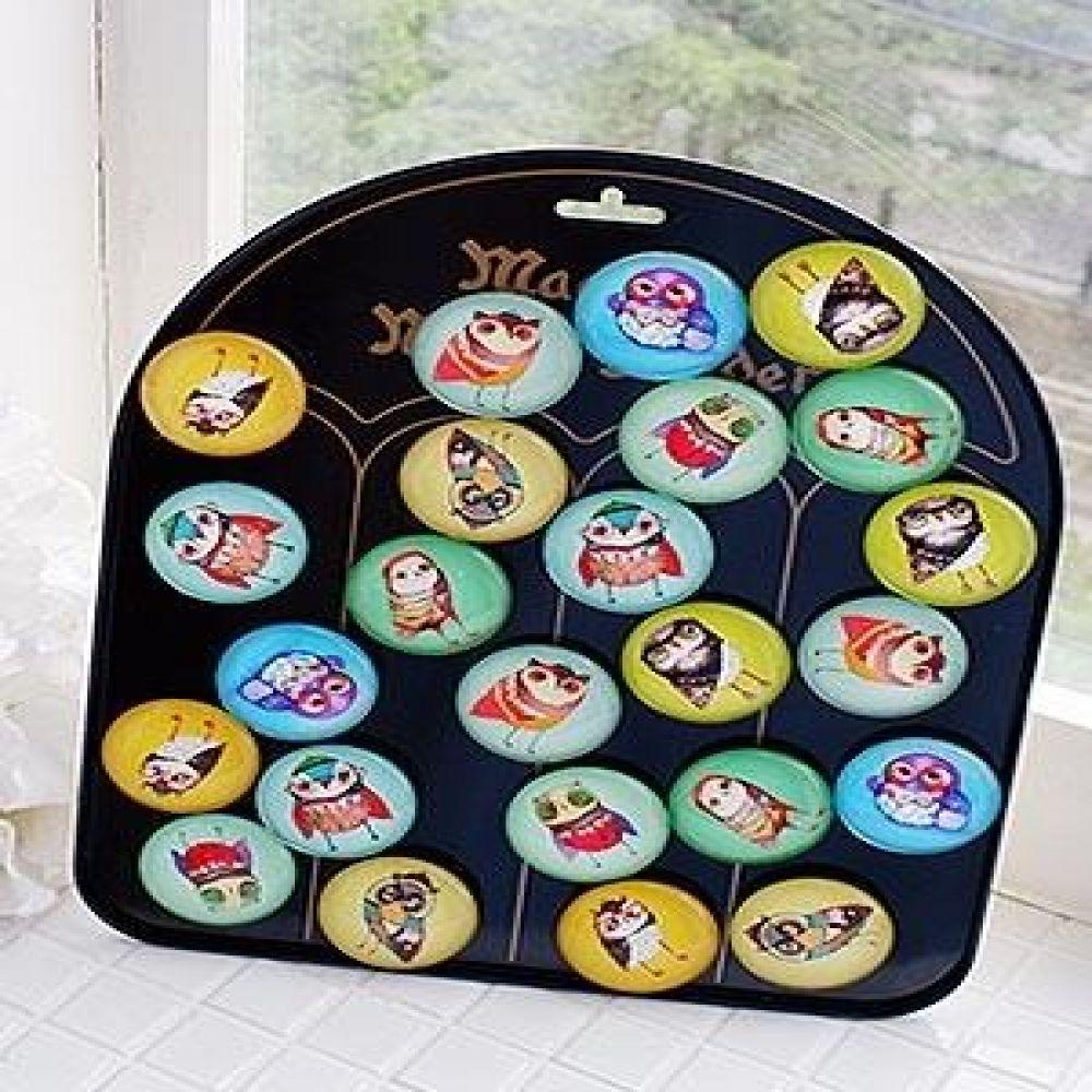물방울 자석 부엉이 (24P) 인테리어소품 장식소품 냉장고마그넷 마그네틱소품 미니어처소품