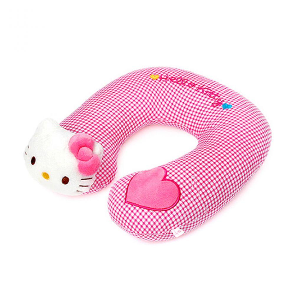 헬로키티 체크 목쿠션 헬로키티 키티인형 고양이인형 캐릭터인형 베개 동물인형 헬로키티장난감 고양이 인형선물 귀여운인형