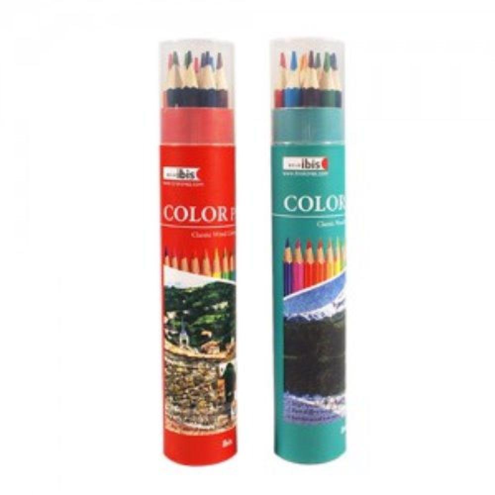아이비스 3000 12색 원통 목색연필세트 색연필 1개 선물용연필