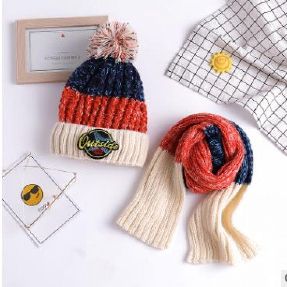 인슬로 방한 니트 털모자 머플러 세트 SE_492 비니 방한모자 모자 겨울용품 겨울모자