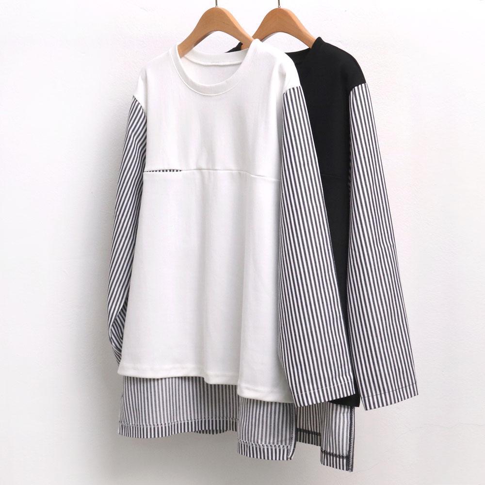 미시옷 6803L910 줄지 배색 포켓 셔츠 WC 빅사이즈 여성의류 빅사이즈 여성의류 미시옷 임부복 언발스트라이프셔츠