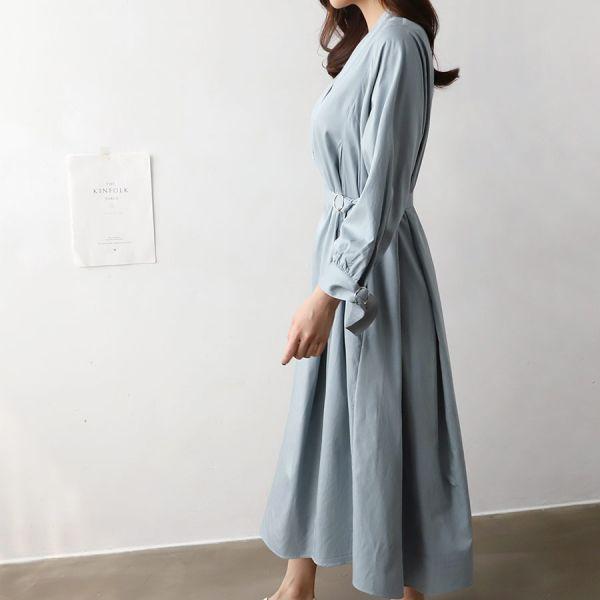 레이온롱셔츠원피스 1025010 DRESS 면원피스 베이지 Beige 소라 Sky Blue