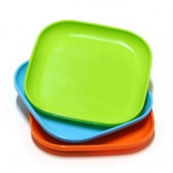 파스텔 정사각 플라스틱 접시(소) 3개 13.5cm X 13.5cm 쟁반 간식 플라스틱 트레이 정사각