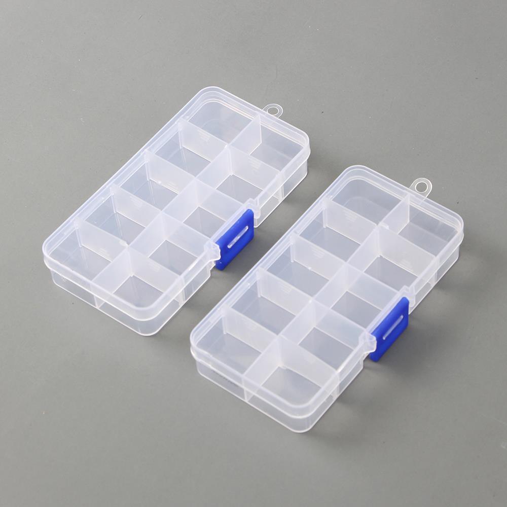 10칸 투명 2p 소품케이스 칸막이 칸막이분리 약통 수납정리함 소품케이스 칸막이수납상자 악세서리보관함 칸막이소품상자