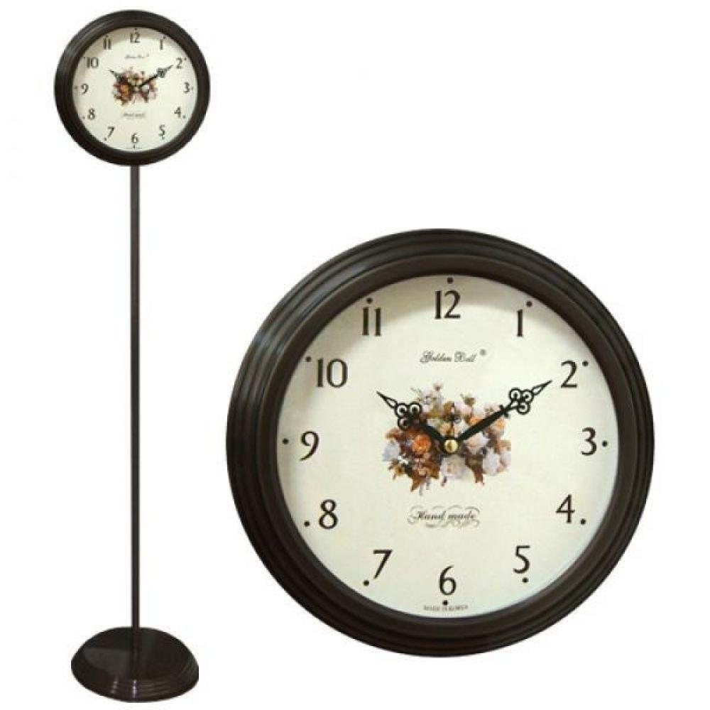 GB6064 무소음 월넛장미 단면 스탠드시계 제조한국 스탠드시계 인테리어시계 무소음시계 플로어시계 거실시계 장식시계 메탈시계 스틸시계 디자인시계 홈데코시계 집들이선물 오피스시계 인테리어소품
