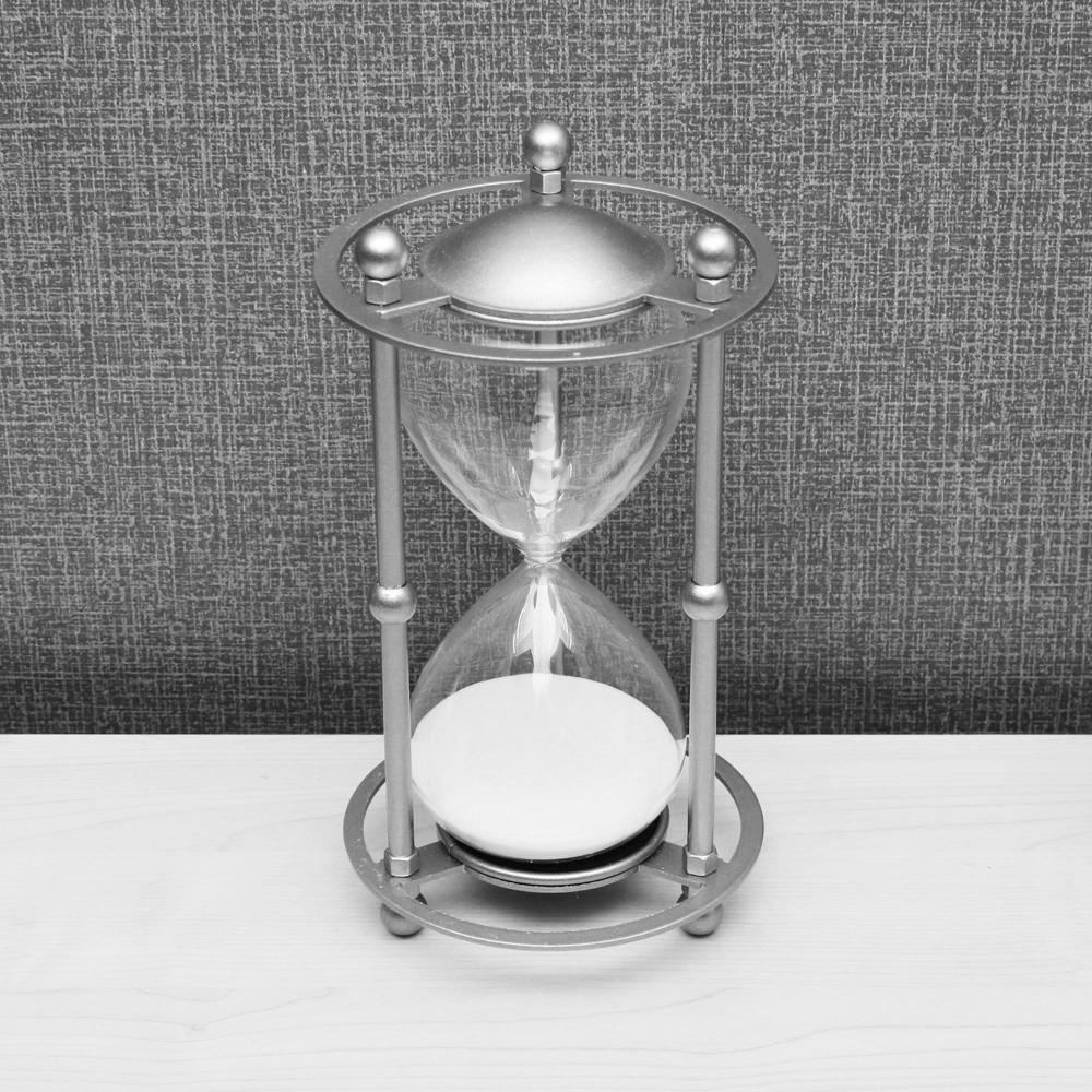 인테리어 30분 모래시계 화이트 실버메탈 탁상시계 인테리어소품 30분타이머 모레시계 책상소품 탁상시계