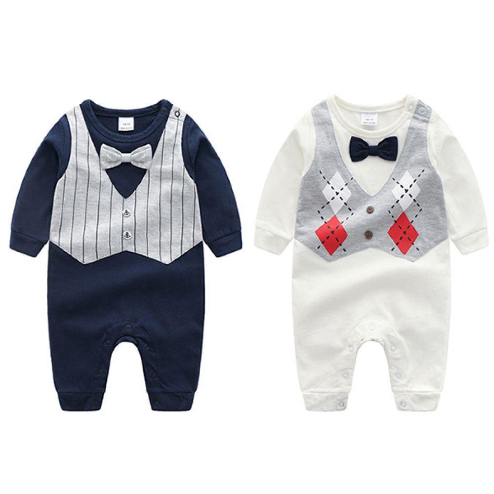 조끼 프린팅 턱시도 우주복 (0-18개월) 203617 아기우주복 유아우주복 신생아옷 신생아우주복 아기옷 유아옷 아기외출복 유아외출복 신생아외출복 우주복