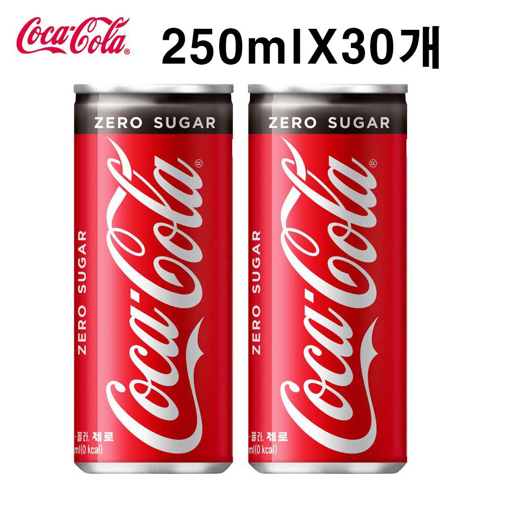 탄산음료 코카콜라 제로 250ml X 30개 (일반용) 탄산음료 코카콜라 코카콜라제로 사이다 음료수