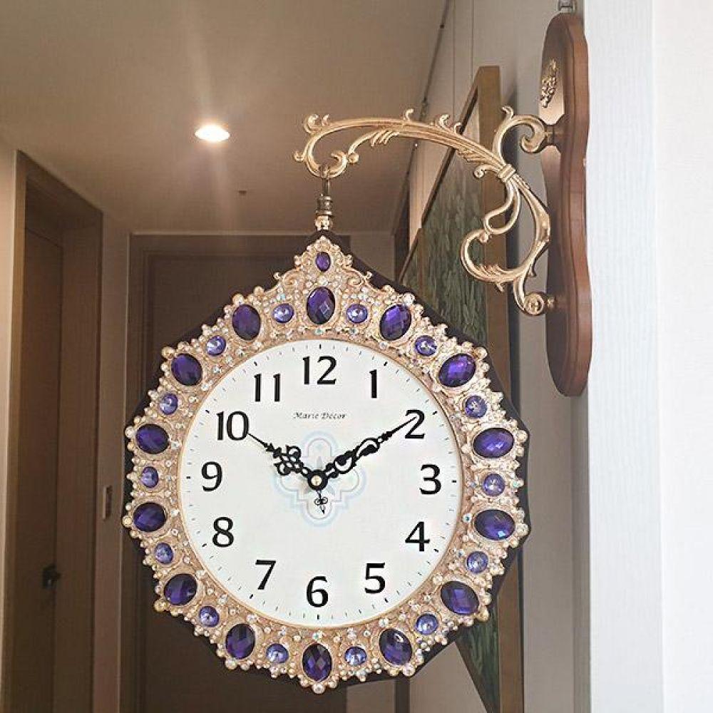 로얄퍼플 양면시계 양면시계 양면벽시계 벽시계 벽걸이시계 인테리어벽시계