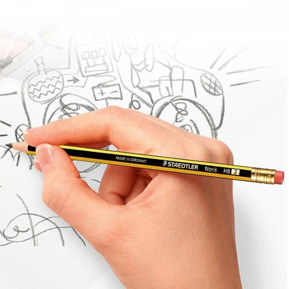 스테들러 노리스 지우개 연필 122-HB 12개입 어린이연필 에코연필 지우개연필 부드러운연필 스테들러연필 독일연필