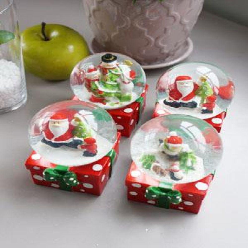 크리스마스 선물 미니 워터볼 (중) 4P 크리스마스소품 장식소품 산타장식품 워터볼미니어처 선반장식