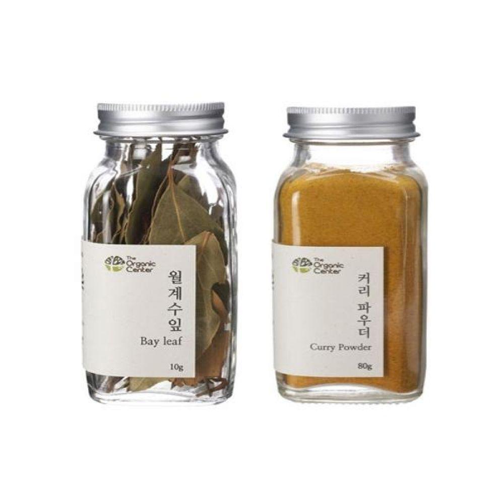 (오가닉 향신료 모음)월계수잎 10g과 커리 파우더 믹스 80g 건강 견과 조미료 냄새 고기