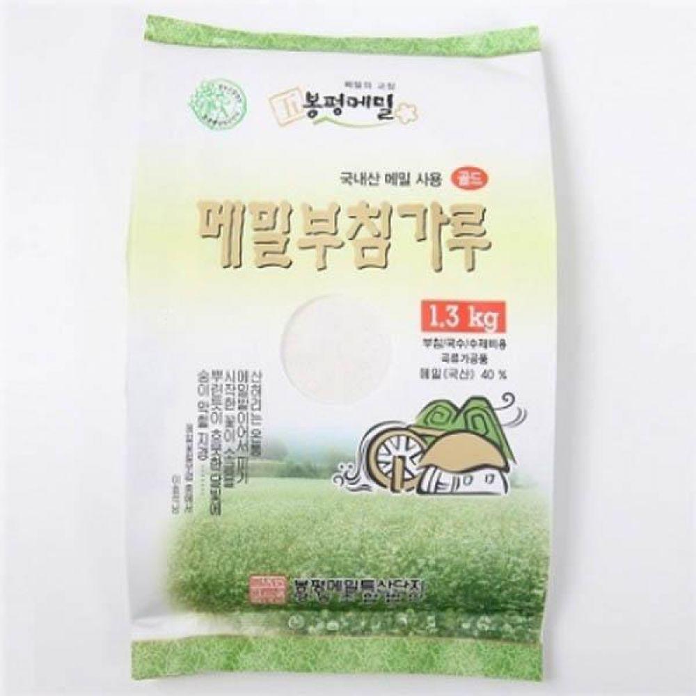 (식자재 박스판매)봉평 메밀 부침가루 플러스(메밀 40프로) 1.3kg x 10개 메일 국수 가루 묵 건강