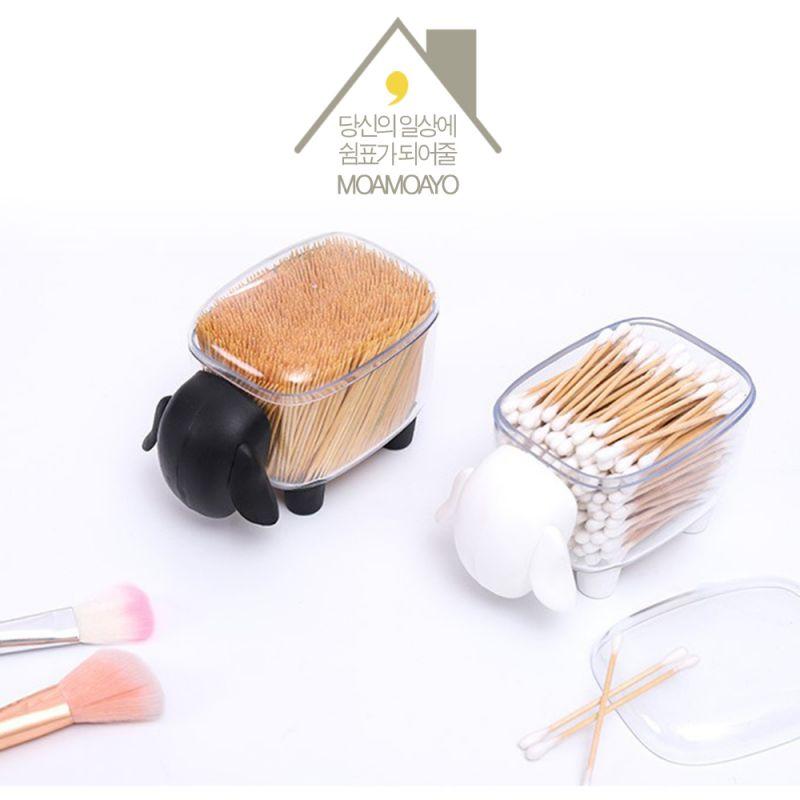 아가양 투명 면봉 케이스 화장솜 보관함 이쑤시개 정리함