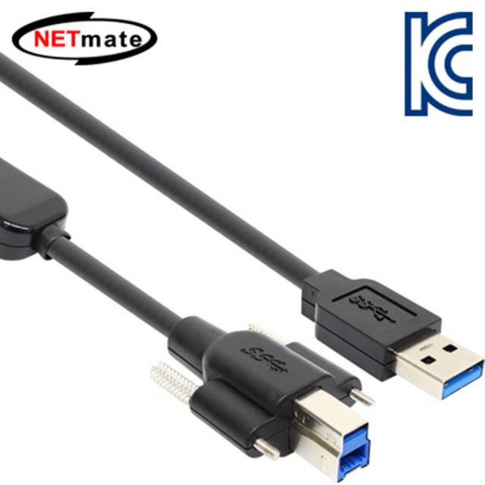 넷메이트 USB3.0 AM-BM Lock 리피터 5M 컴퓨터용품 PC용품 컴퓨터악세사리 컴퓨터주변용품 네트워크용품 usb연장케이블 usb충전케이블 usb선 5핀케이블 usb허브 usb단자 usbc케이블 hdmi케이블 데이터케이블 usb멀티탭