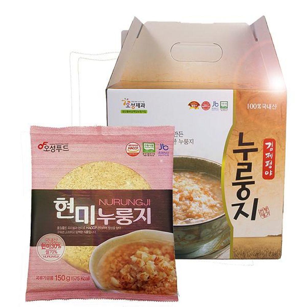 오성푸드 현미누룽지(150gx10봉) 김제평야쌀 전통방식 그대로 고소하고 구수함 웰빙 간편식 간편 즉석 식사 대체 누룽지