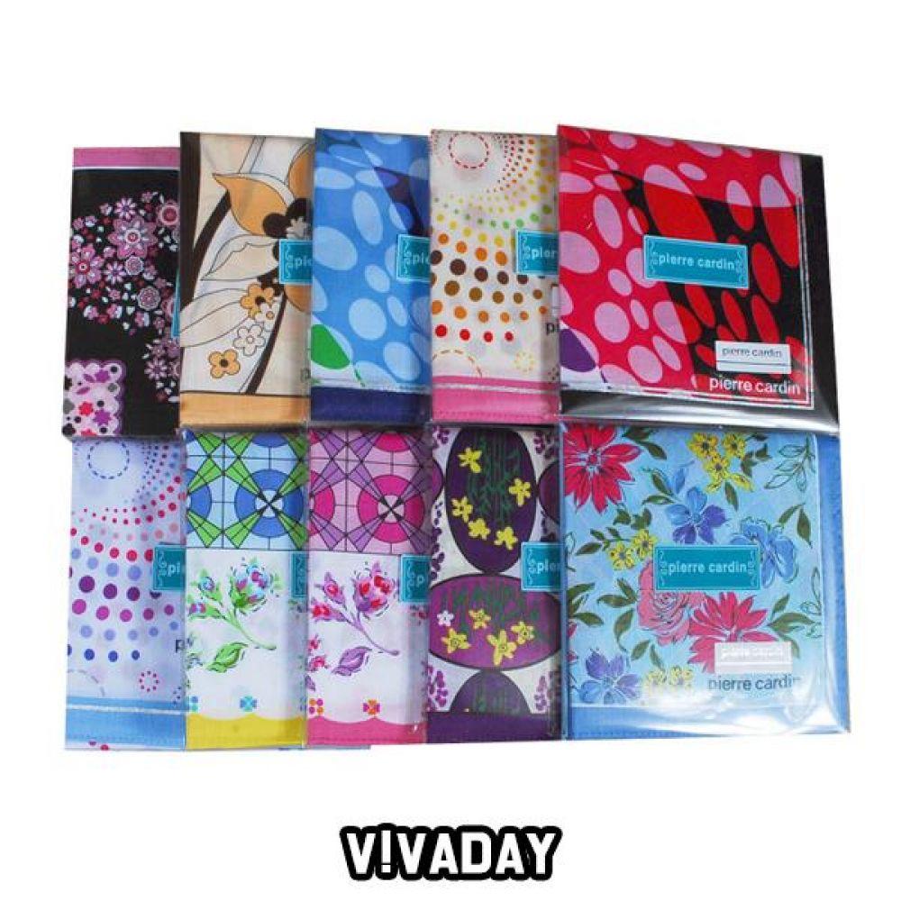 VIVADAY-SC60 고급스러운 여성나염 손수건 10매입 손수건 나염손수건 여성손수건 신사손수건 남성손수건 순면손수건 가제손수건 고급손수건