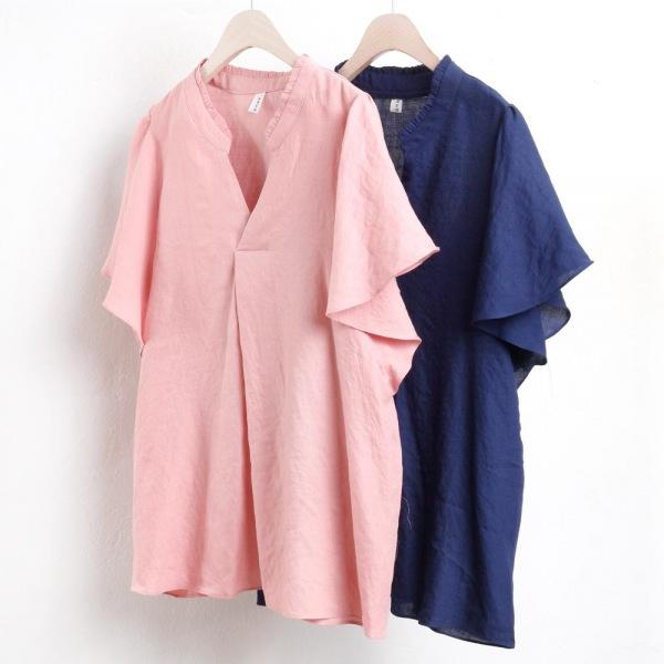 미시옷 2344L806 샤랑 소매 블라우스 YP 빅사이즈 여성의류 빅사이즈 여성의류 미시옷 임부복 오픈프릴블라우스