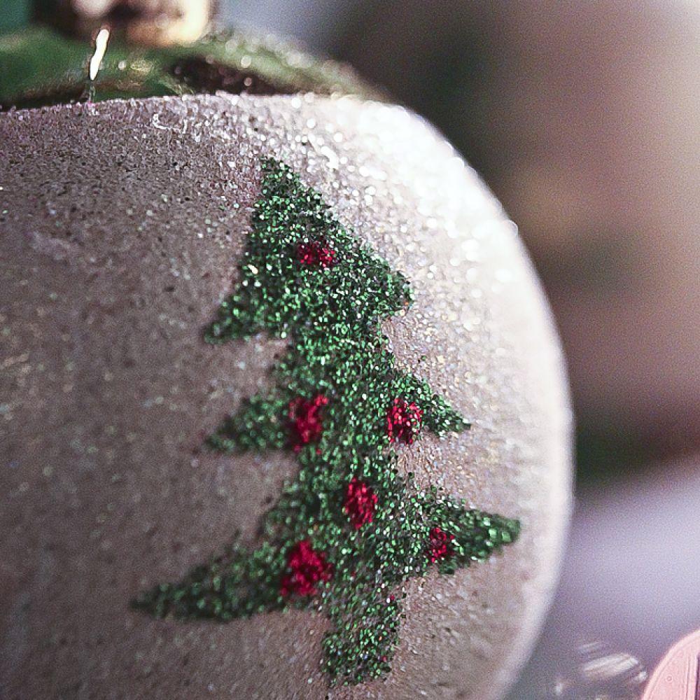 MWSHOP 4P 골드 유광 트리 이미지 볼 6cm 크리스마스유광볼 엠더블유샵