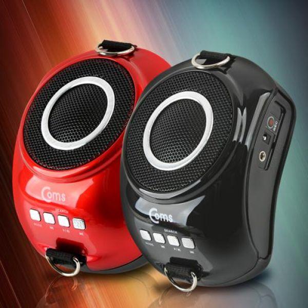 Coms 휴대용 마이크 앰프강의실 매장 가이드 행사진행용 USBMicroSD FM 블랙