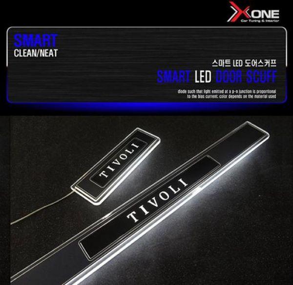스마트 LED도어스커프 티볼리 자동차용품 LED자동차용품 자동차인테리어 자동차실내용품 자동차도어스커프