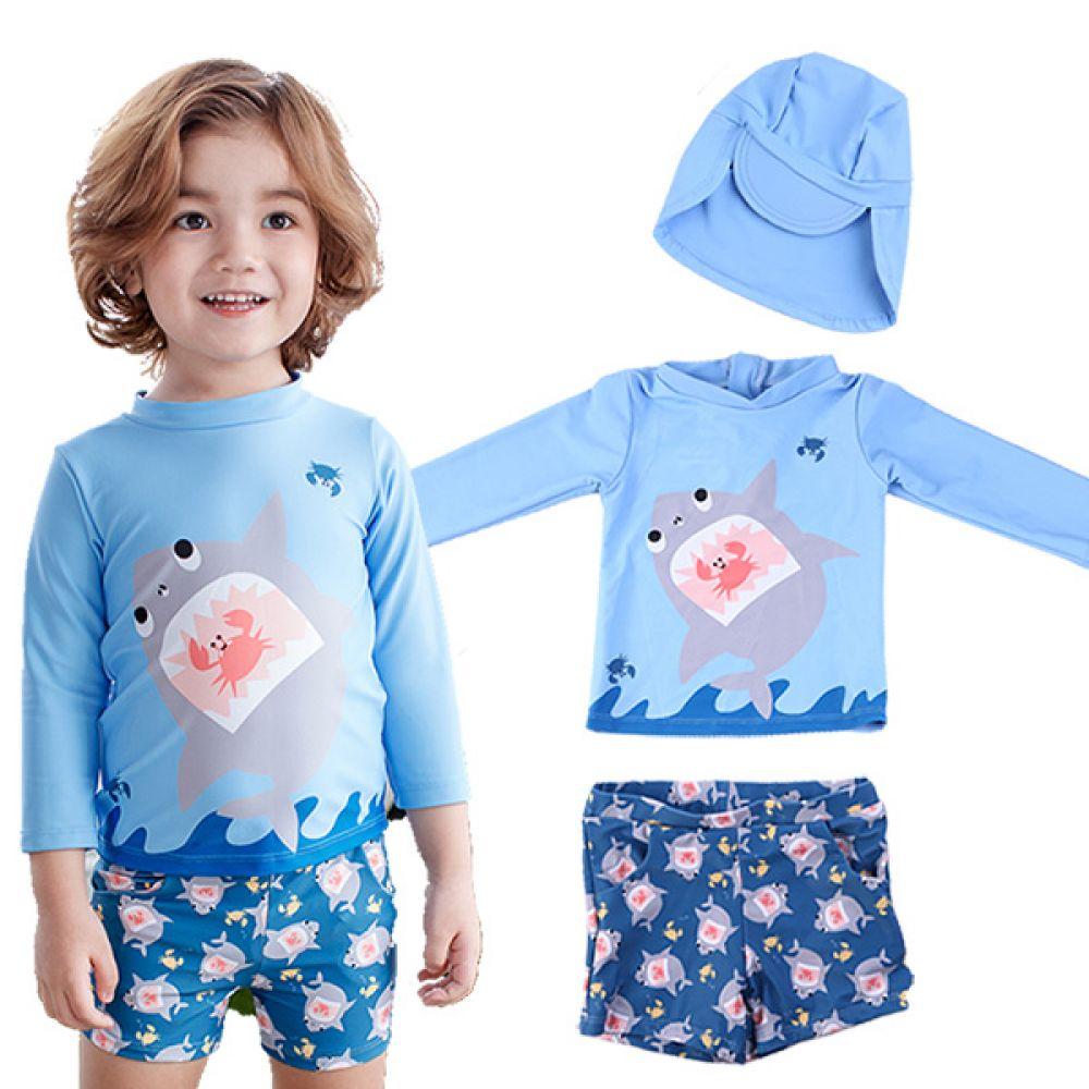 상어 속 꽃게 래쉬가드 3종세트(1-6세) 700033 아기수영복 유아수영복 아기래쉬가드 유아래쉬가드 수영복 래쉬가드 물놀이옷 여름바캉스