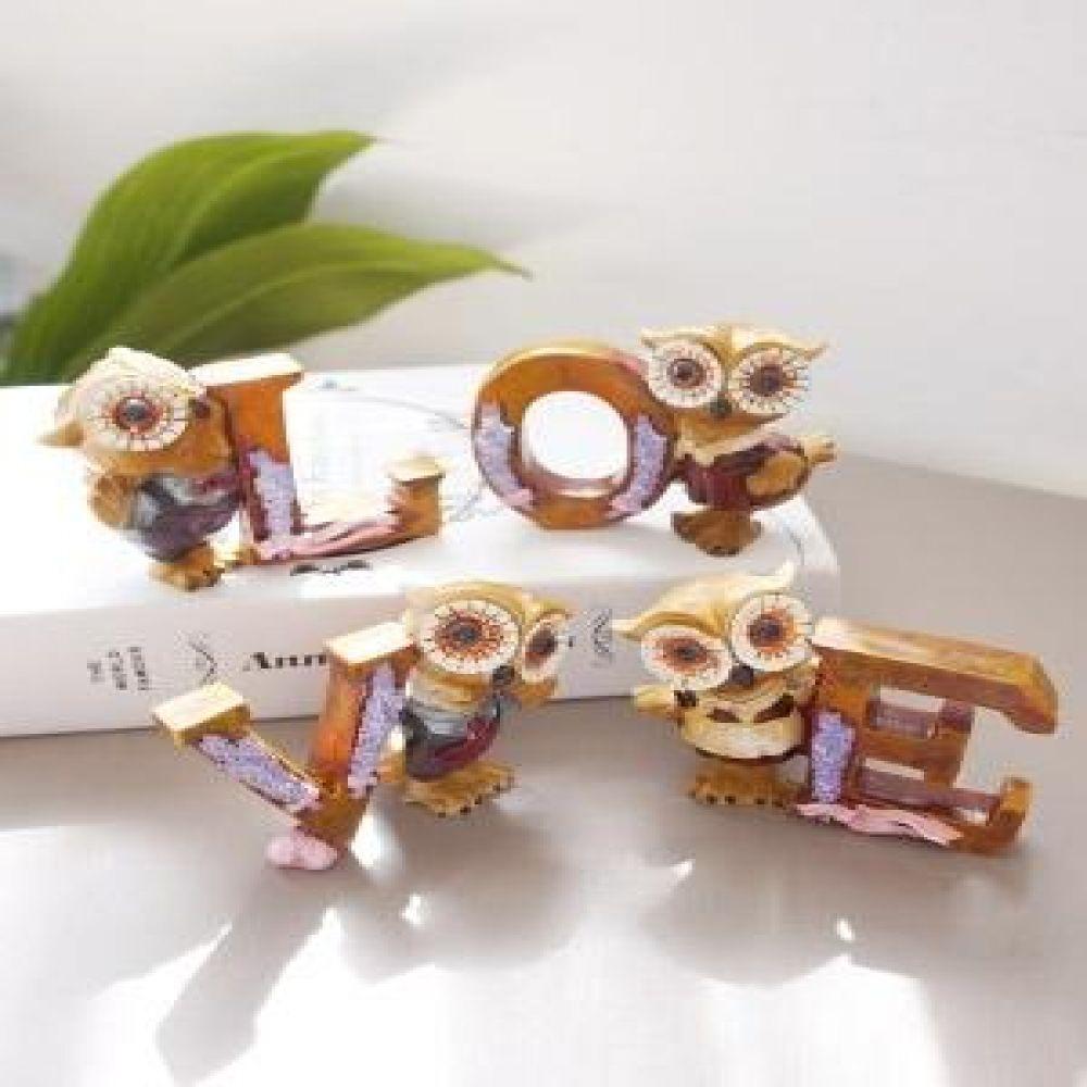 러브 이니셜 부엉이 4P 마블소품 부엉이소품 장식소품 인테리어소품 장식인형