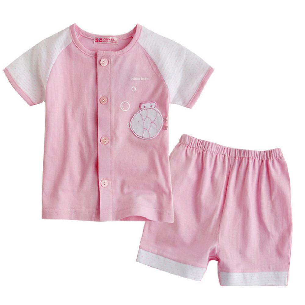 한국생산 피쉬 상하복 2종 핑크 (0-24개월) 202129 백일 돌복 상하복 세트 바지 티셔츠