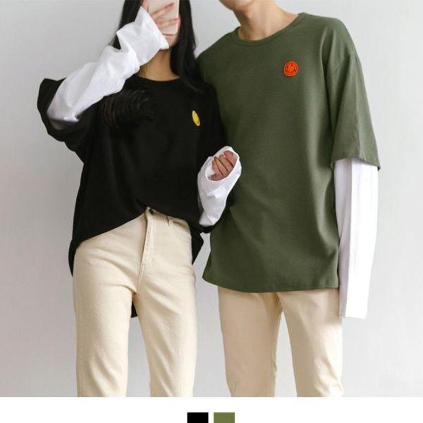 시밀러 스마일 레이어드 박스티 커플시밀러룩 시밀러룩 커플룩 루즈핏티셔츠 남자티셔츠 여성티셔츠 티셔츠 커플티 나그랑티셔츠 박스티셔츠