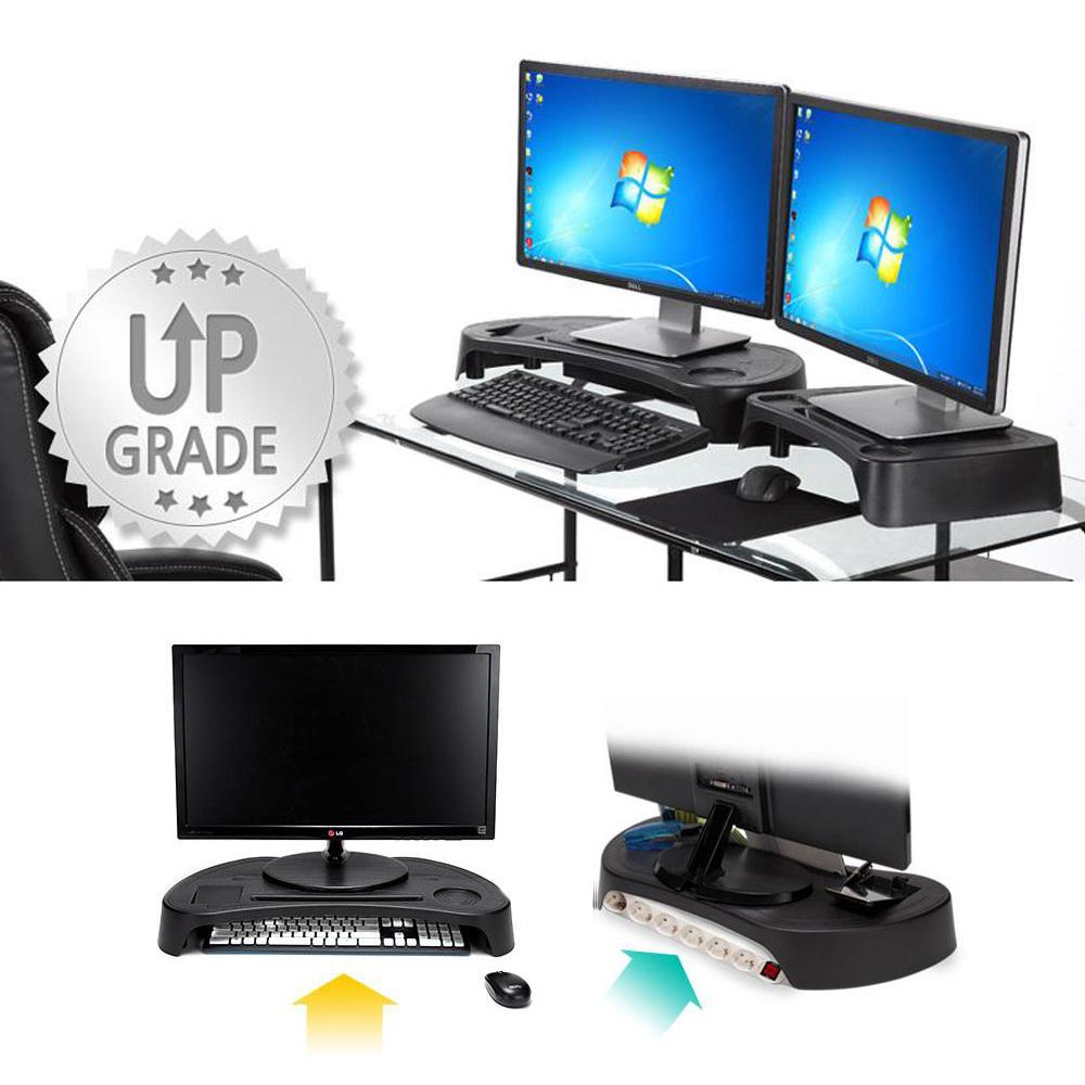 키보드수납 듀얼 모니터받침대 2P 세트 컴퓨터받침대 PC받침대 컴퓨터선반 컴퓨터본체받침대 바퀴달린받침대 컴퓨터본체거치