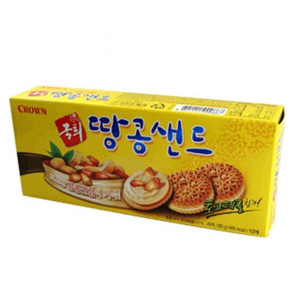 크라운 국희 땅콩샌드 1박스(155gx24각) 쿠키 비스킷 고소 너트 바삭 행사 유치원 어린이집 도매 대량판매