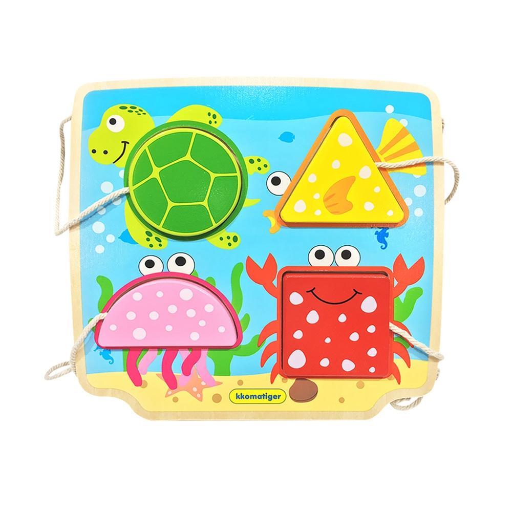 선물 유아 장난감 티거 원목 끈퍼즐 놀이 바다 동물 퍼즐 블록 블럭 장난감 유아블럭