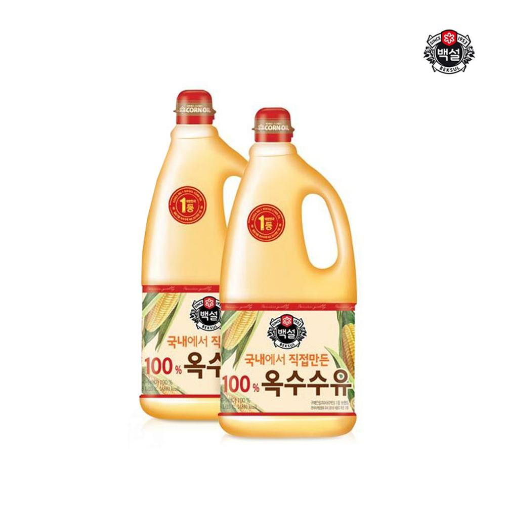 백설 옥수수유 백프로 1.8L x2개 / 대용량 식용유 식용유 튀김식용유 부침개식용유 튀김전용오일 옥수수유