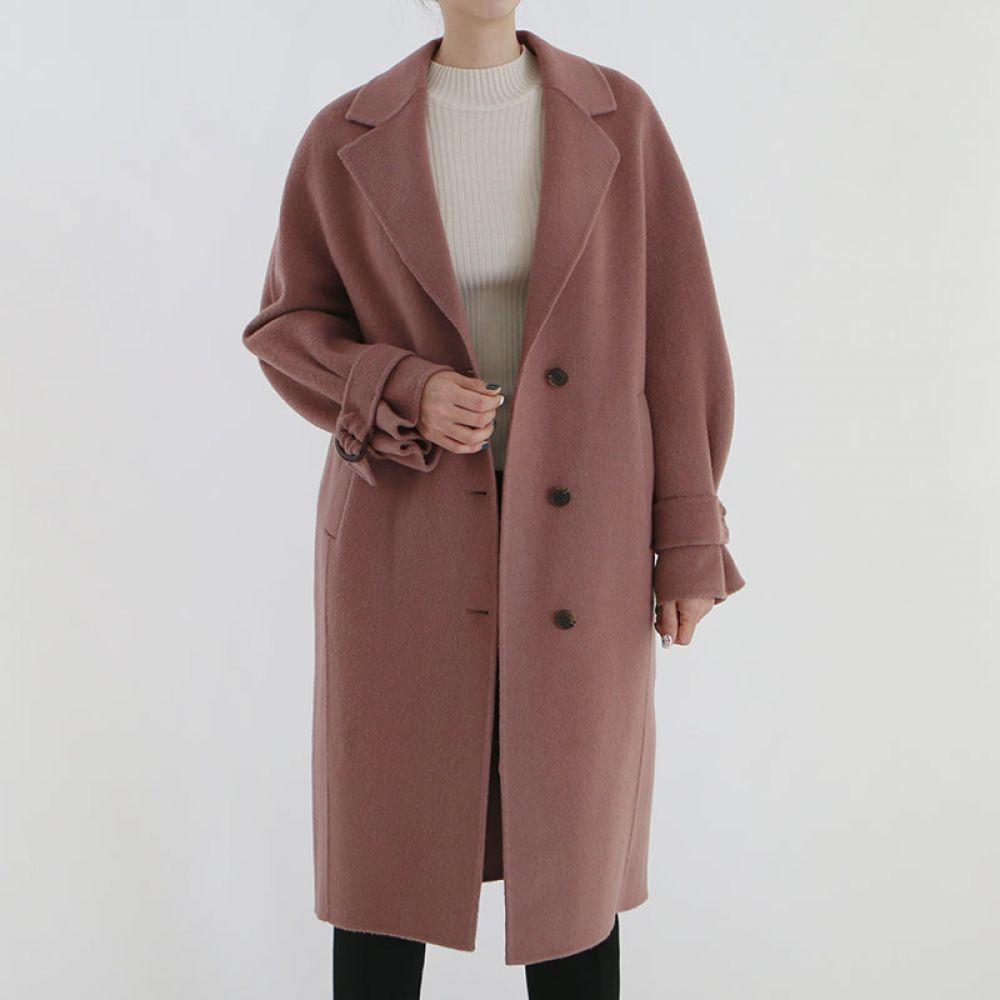 소매 벨트 울 코트 1045599 OUTER 모직 울코트 블랙 Black 블루 Blue 핑크 Pink 캐주얼