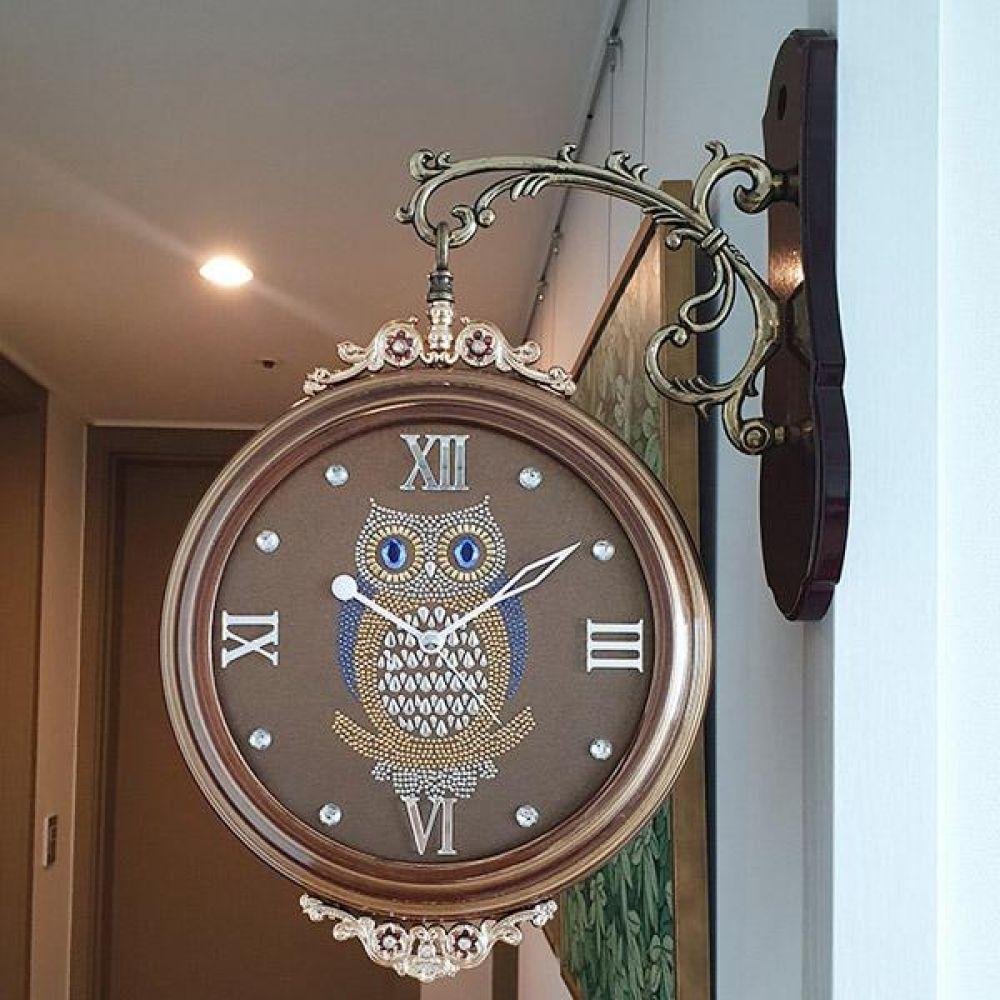 부엉이 펄양면시계 (브론즈) 양면시계 양면벽시계 벽시계 벽걸이시계 인테리어벽시계