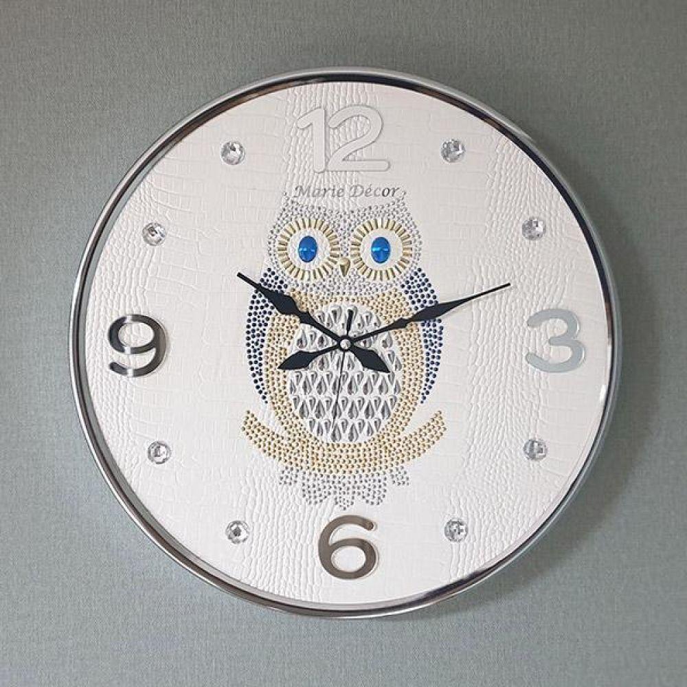포인트 부엉이 무소음 벽시계(대) 아이보리 벽시계 벽걸이시계 인테리어벽시계 예쁜벽시계 인테리어소품