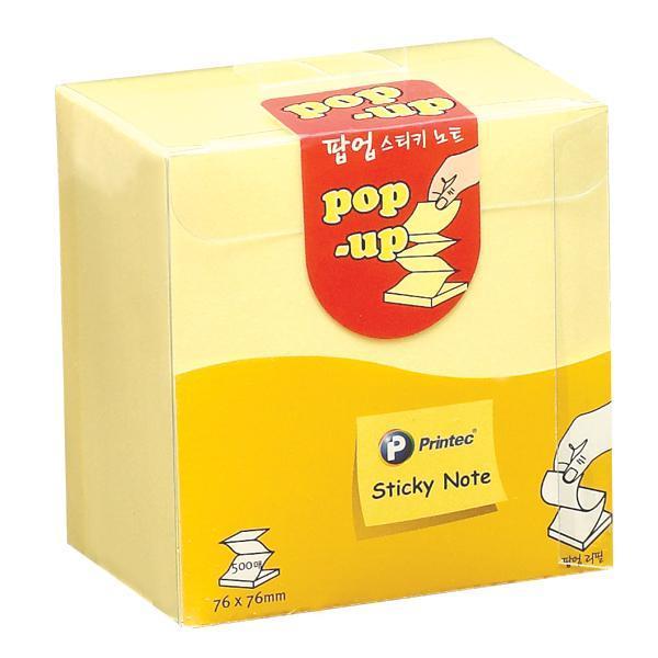 프린텍 A030 스티키노트 팝업 노랑리필 500매 스티키노트 포스트잇 메모지 접착메모지 프린텍 점착메모지 애니라벨