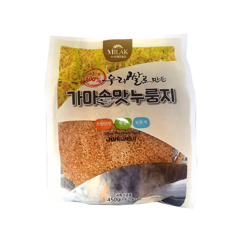 우리쌀로 만든 미락 가마솥맛 누룽지 450g/ 소포장 가마솥누룽지 가마솥맛누룽지 우리쌀누룽지 미락누룽지 국산누룽지