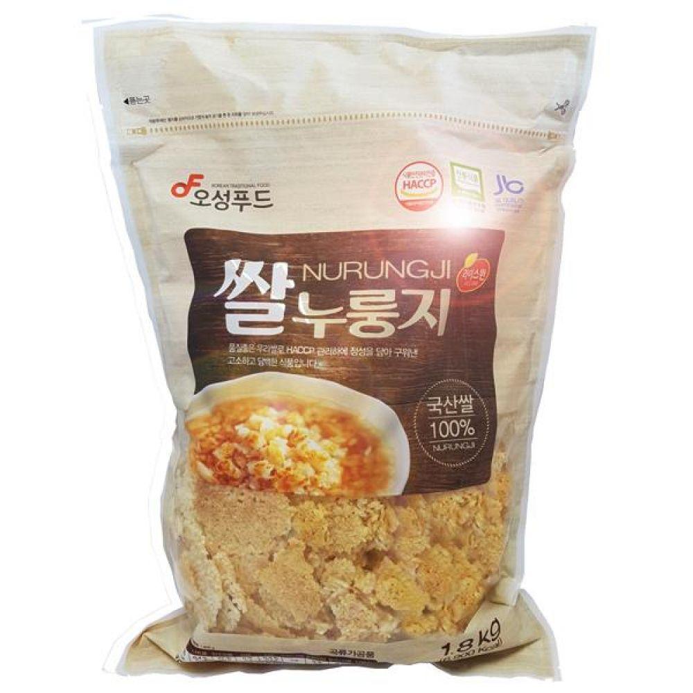 오성푸드 1.8kg 대용량 쌀누룽지  김제평야쌀 전통방식 그대로 고소하고 구수함 웰빙 간편식 간편 즉석 식사 대체 누룽지