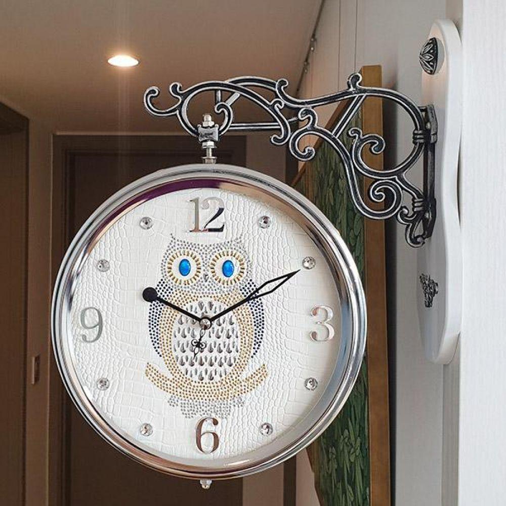 포인트 부엉이 무소음 양면시계 (아이보리) 양면시계 양면벽시계 벽시계 벽걸이시계 인테리어벽시계