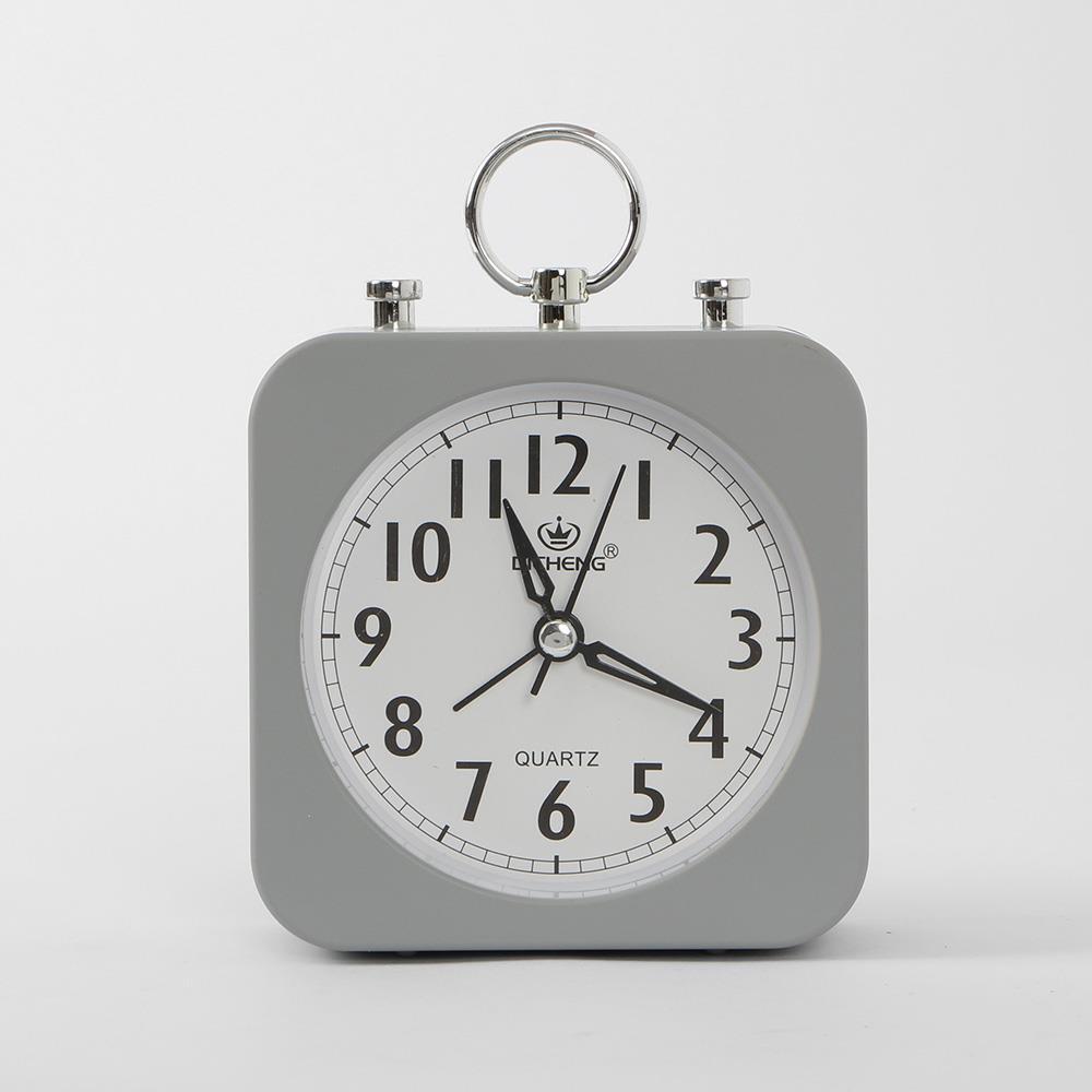 알람시계 그레이 사각 무소음 인테리어시계 탁상시계 알람시계 생활용품 무소음시계 인테리어시계 탁상시계