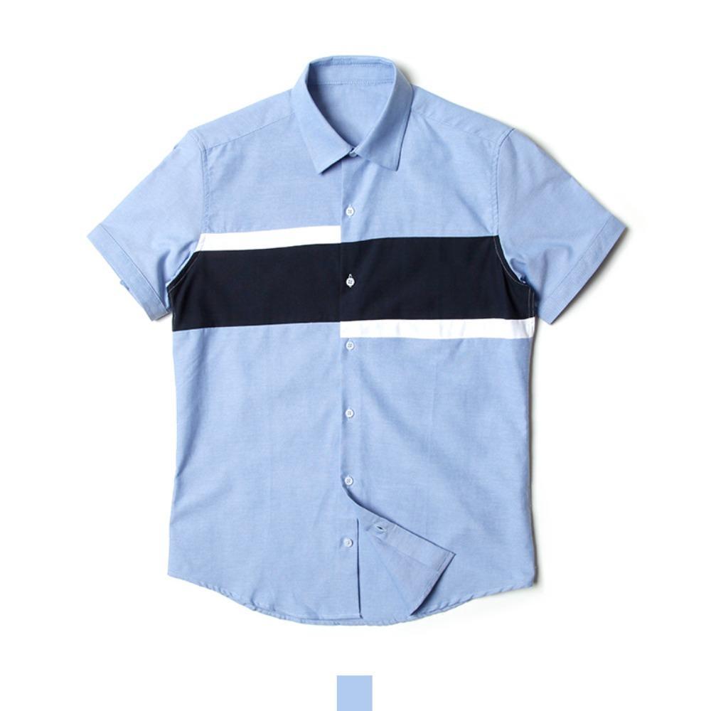 블럭 배색 소라 남자 반팔셔츠 반팔남방 반팔셔츠 슬림핏셔츠 빅사이즈셔츠 남자셔츠 남자반팔셔츠 캐주얼셔츠 남자여름셔츠 반팔와이셔츠 남자와이셔츠