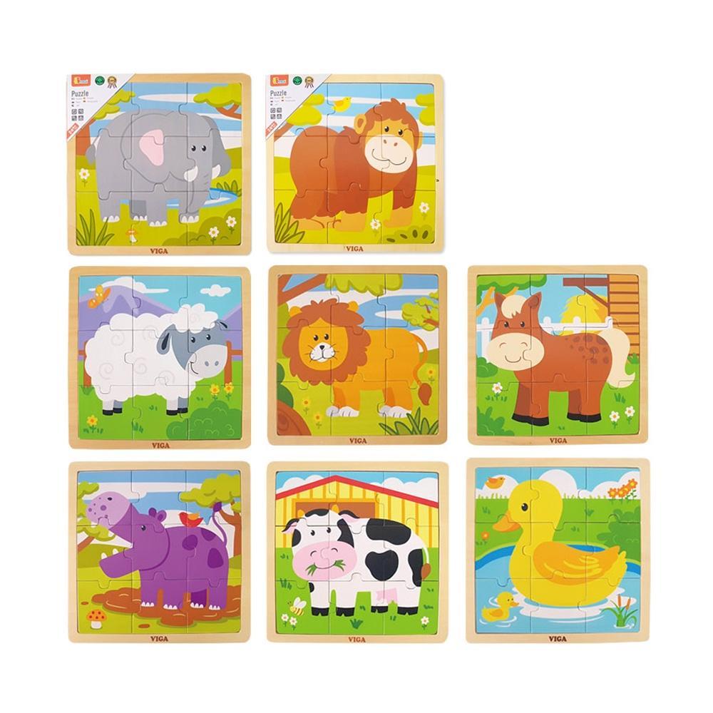 선물 2세 유아 장난감 9피스 직소 퍼즐 동물 8종세트 퍼즐 블록 블럭 장난감 유아블럭
