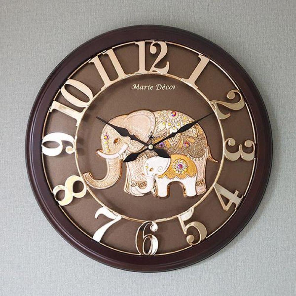 넘버링 우드 벽시계 (파인보석 코끼리 골드) 벽시계 벽걸이시계 인테리어벽시계 예쁜벽시계 인테리어소품