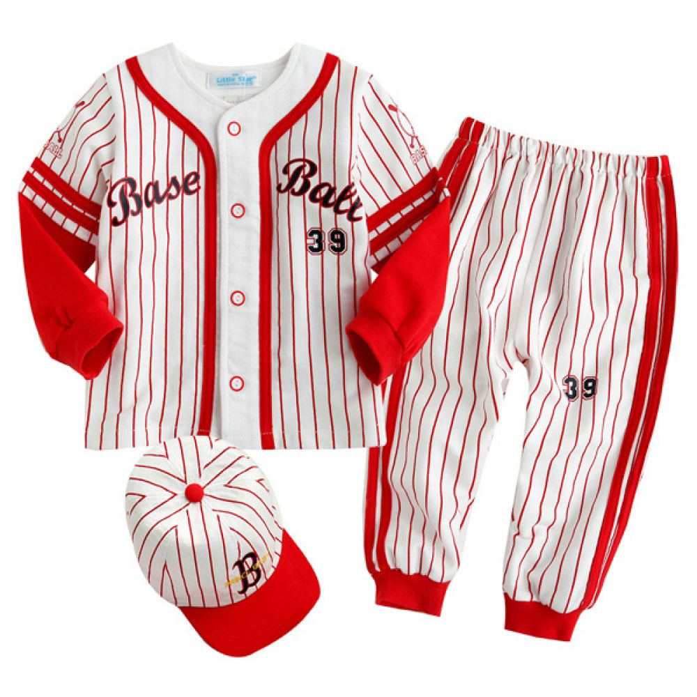 한국생산 야구 상하복 모자 레드(0-24개월) 800025 아기옷 원피스 유아옷 신생아옷 백일옷 돌복 유아실내복 세트 정장 아기실내복 아기외출복
